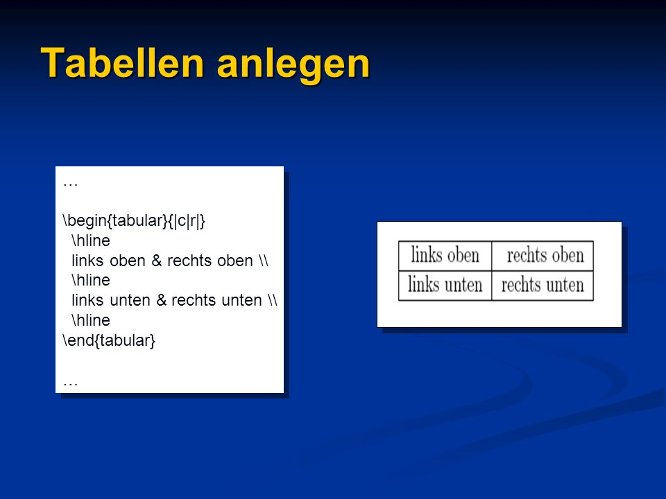 Tabellen anlegen … \begin{tabular}{|c|r|} \hline
