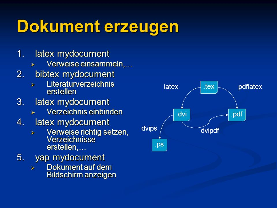 Dokument erzeugen latex mydocument bibtex mydocument yap mydocument