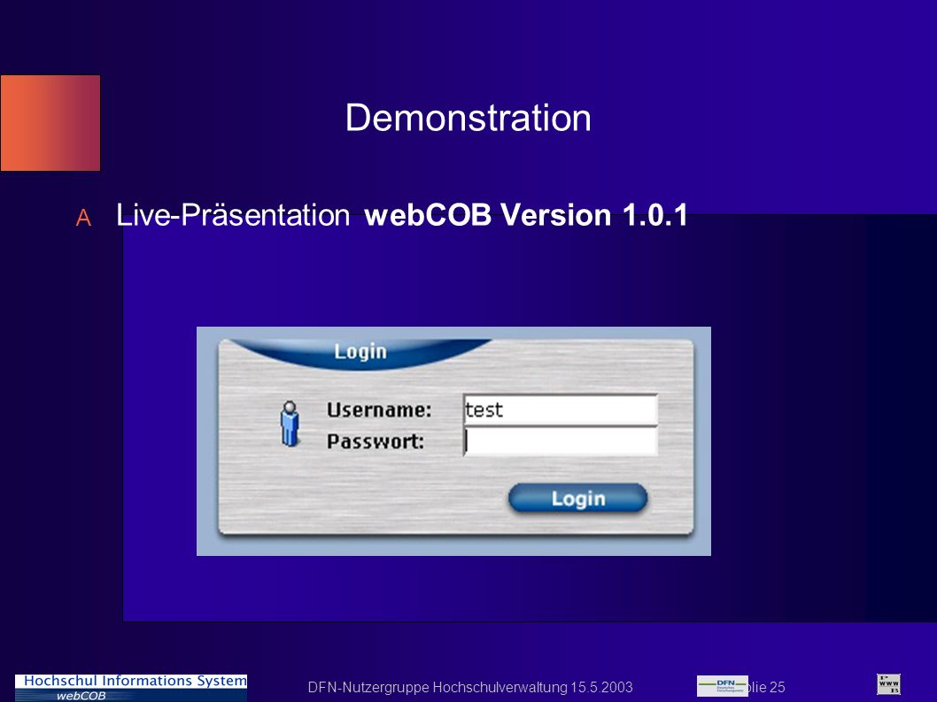 Demonstration Live-Präsentation webCOB Version 1.0.1