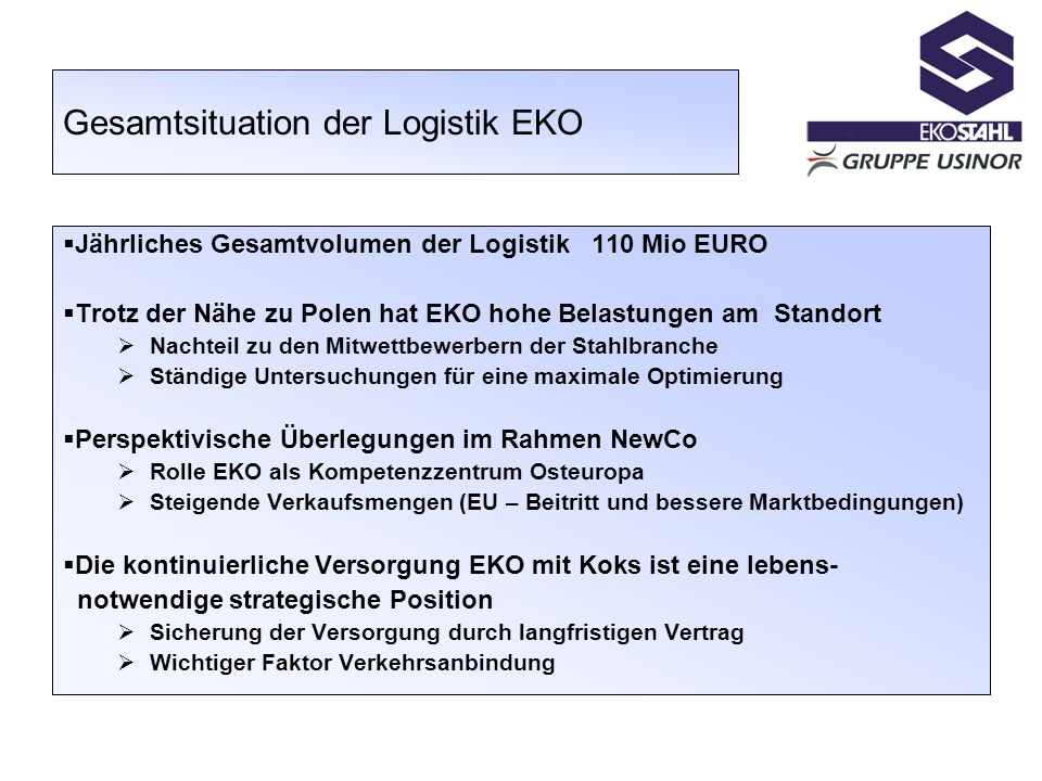 Gesamtsituation der Logistik EKO
