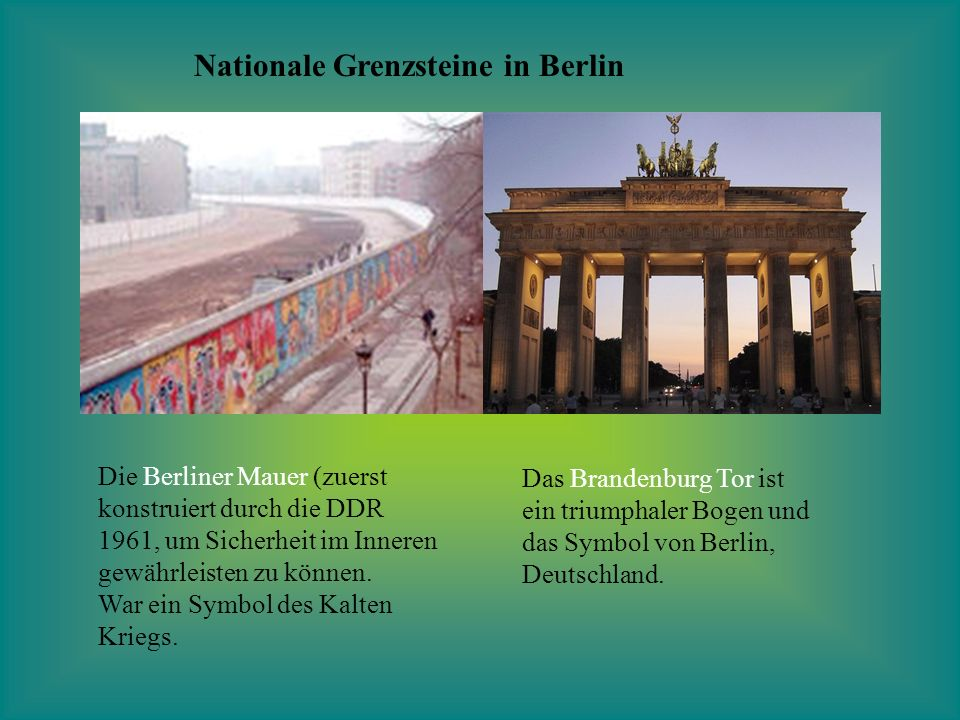 Nationale Grenzsteine in Berlin