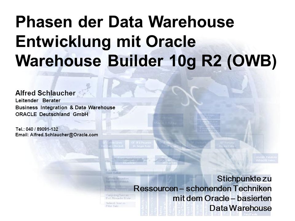 Phasen der Data Warehouse Entwicklung mit Oracle Warehouse Builder 10g R2 (OWB)