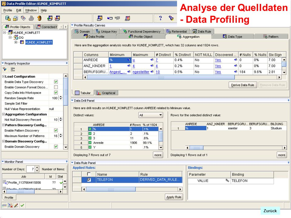 Analyse der Quelldaten - Data Profiling