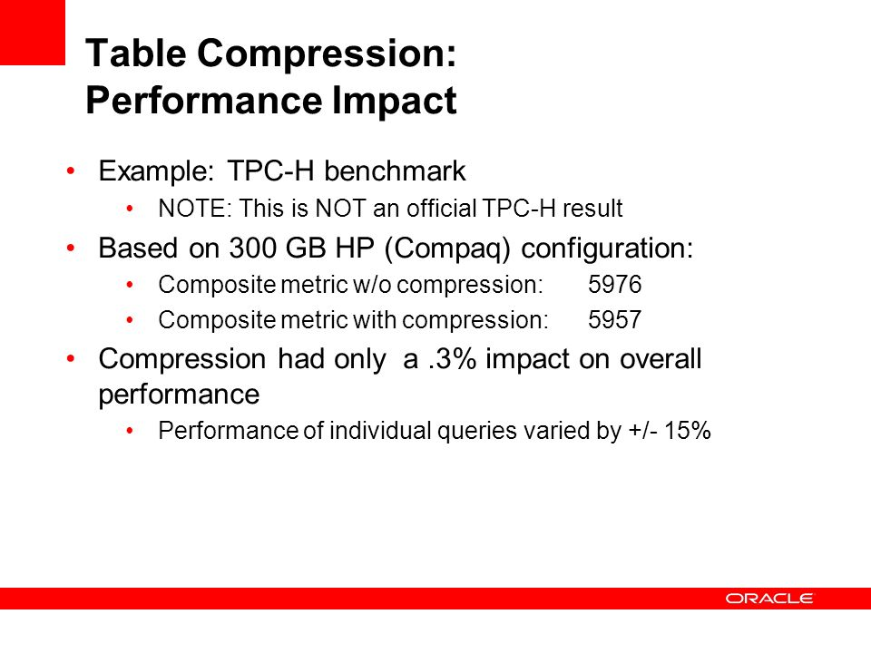 Table Compression: Performance Impact
