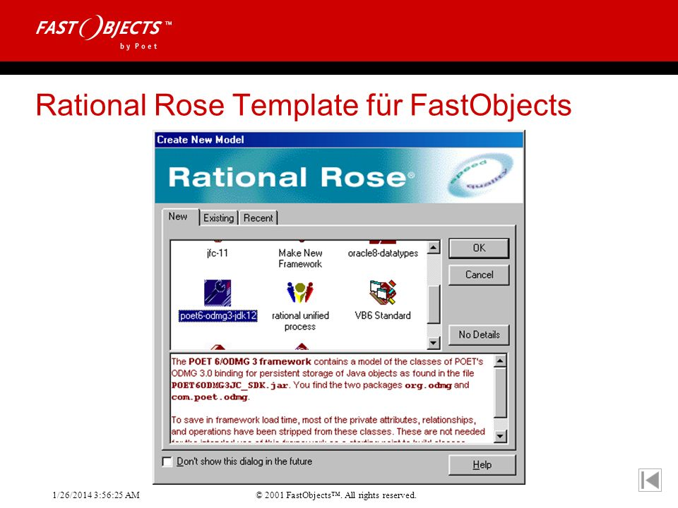 Rational Rose Template für FastObjects