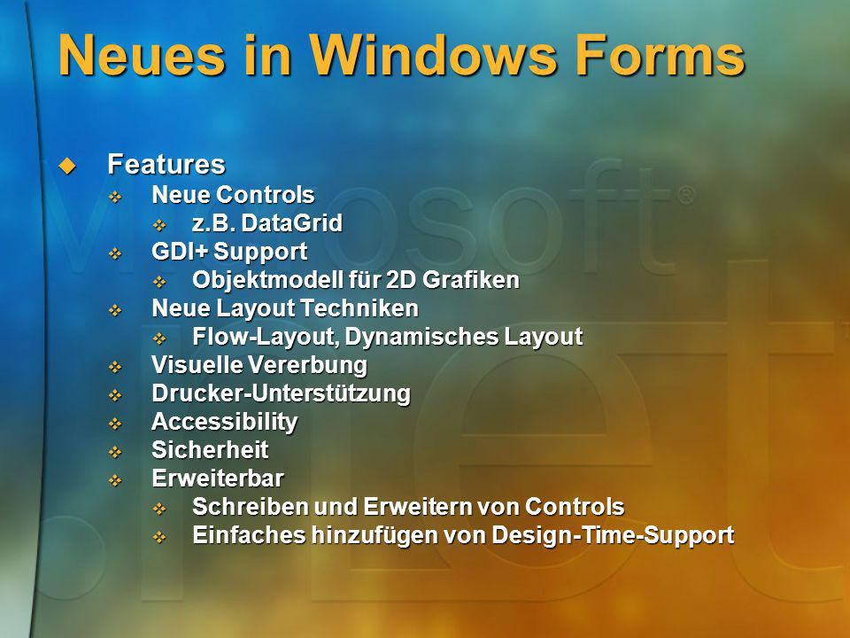 Neues in Windows Forms Features Neue Controls z.B. DataGrid