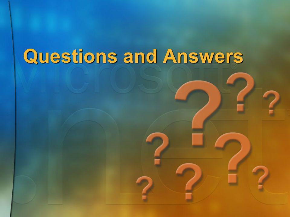 Questions and Answers Final Slide #1 Questions and Answers