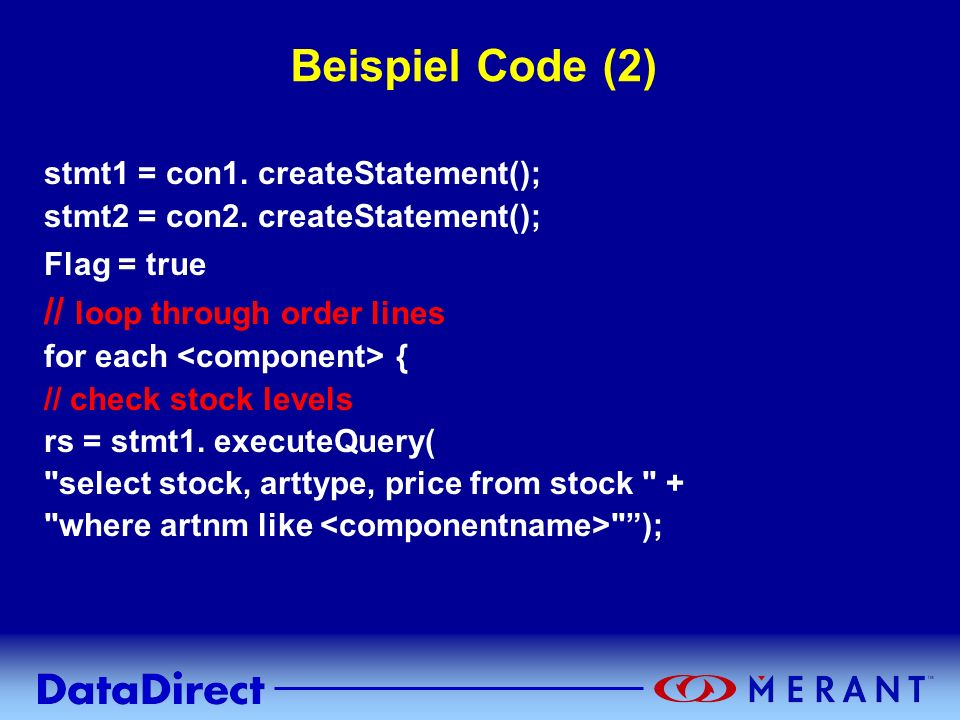 Beispiel Code (2) // loop through order lines
