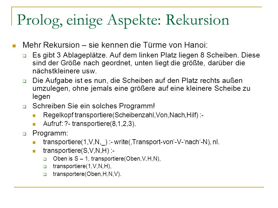 Prolog, einige Aspekte: Rekursion