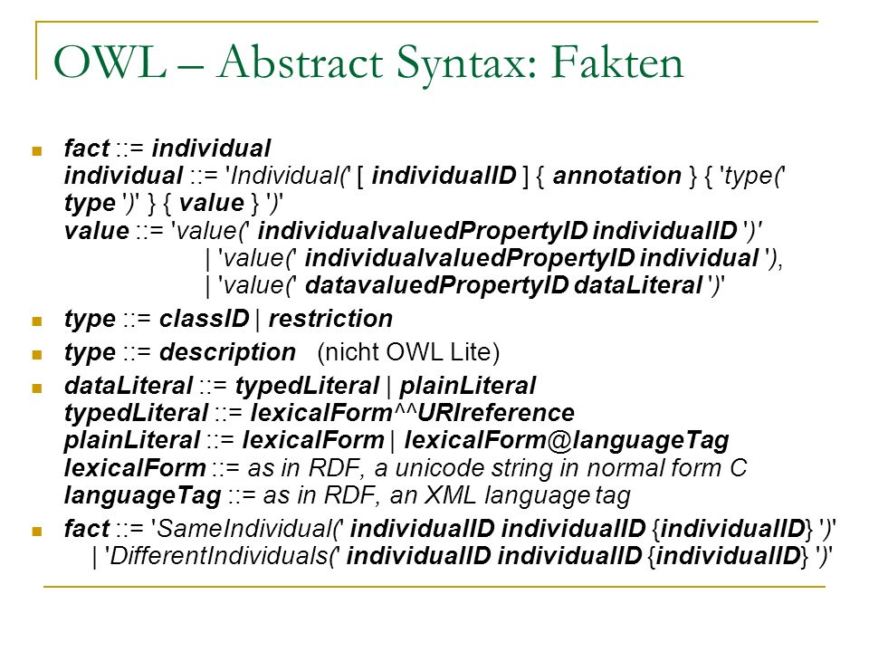 OWL – Abstract Syntax: Fakten