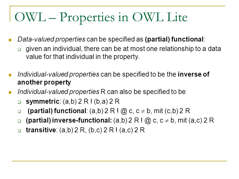 OWL – Properties in OWL Lite