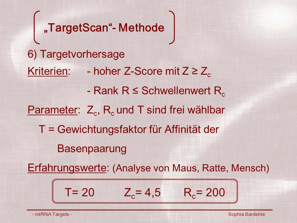 """TargetScan - Methode"