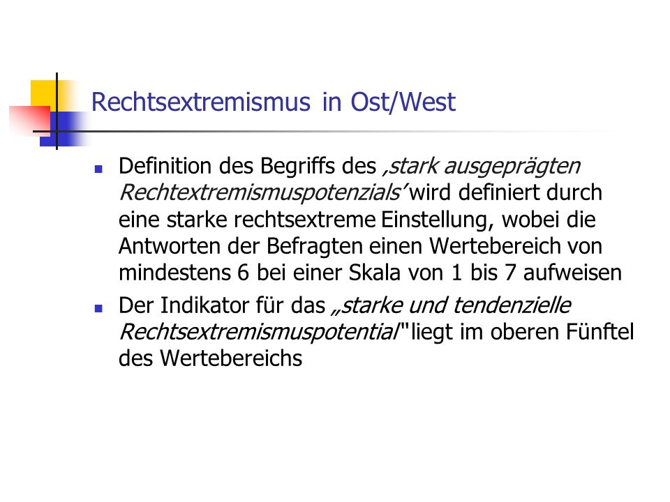 Rechtsextremismus in Ost/West