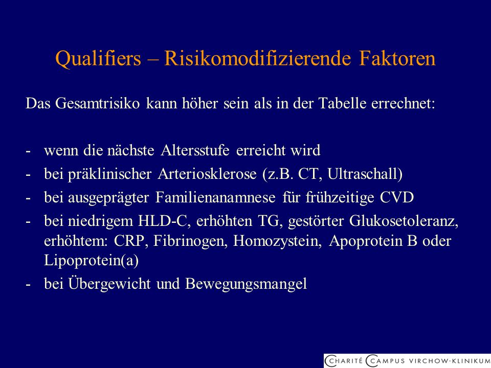 Qualifiers – Risikomodifizierende Faktoren