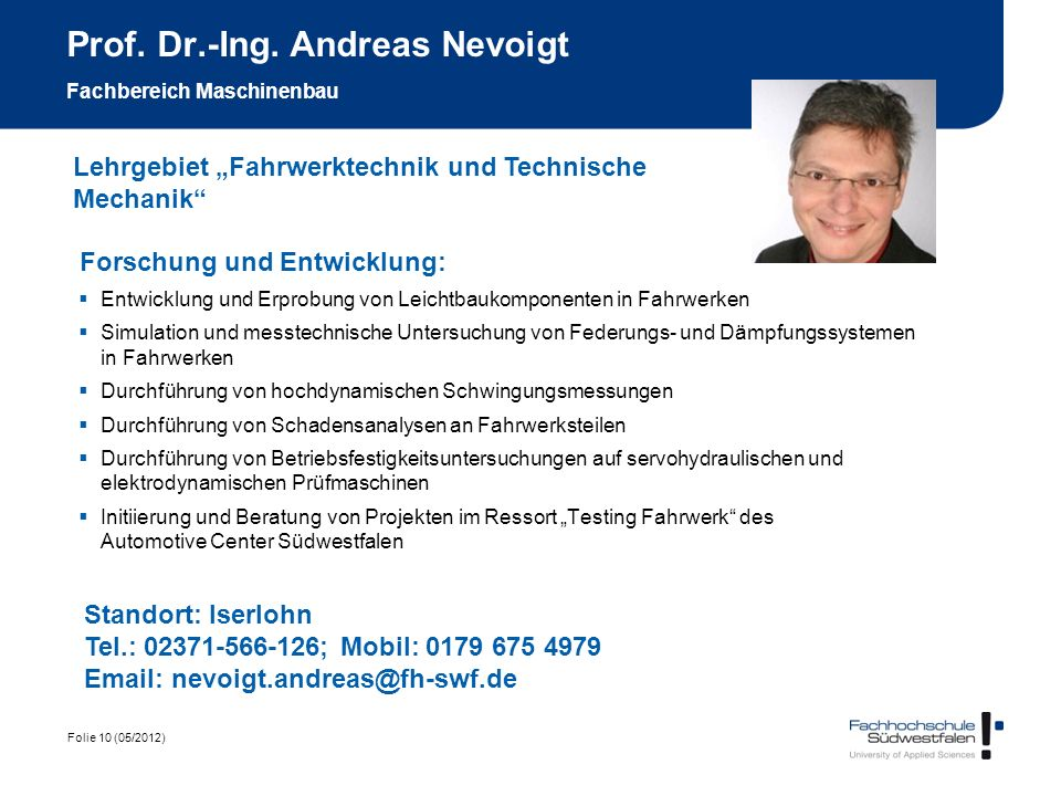 Prof. Dr.-Ing. Andreas Nevoigt Fachbereich Maschinenbau