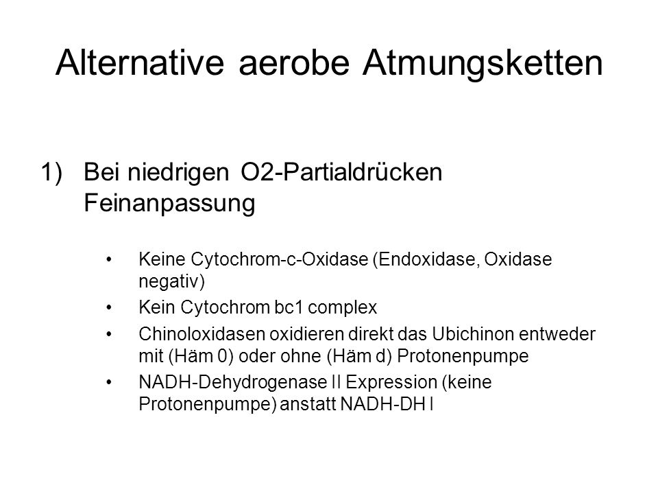 Alternative aerobe Atmungsketten