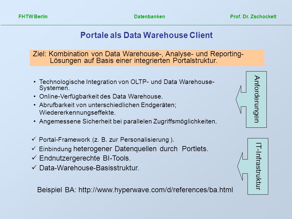 Portale als Data Warehouse Client