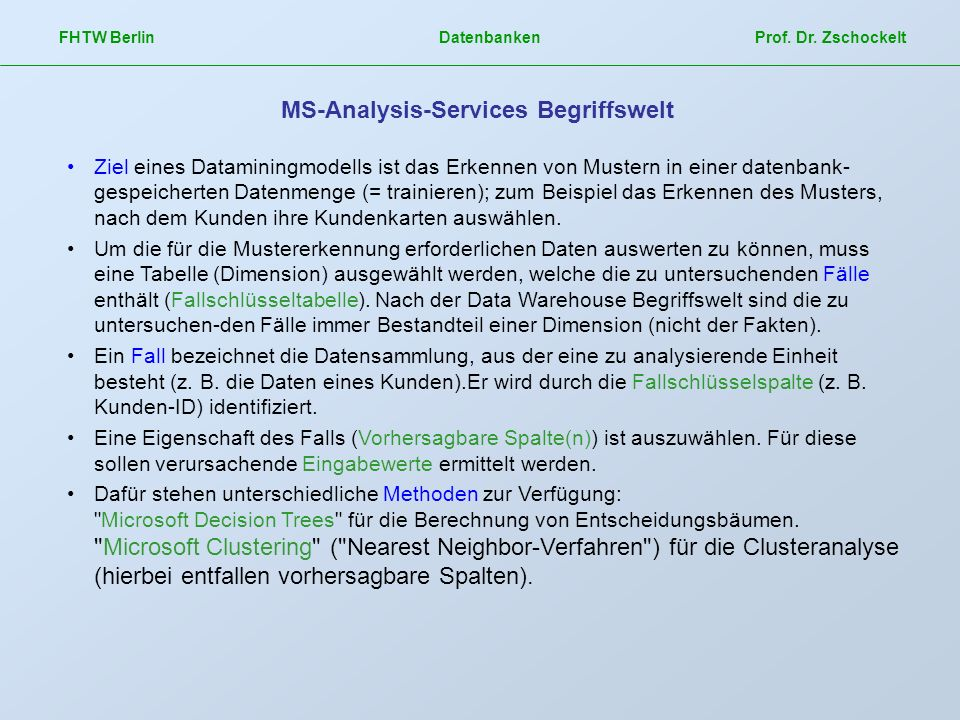 MS-Analysis-Services Begriffswelt