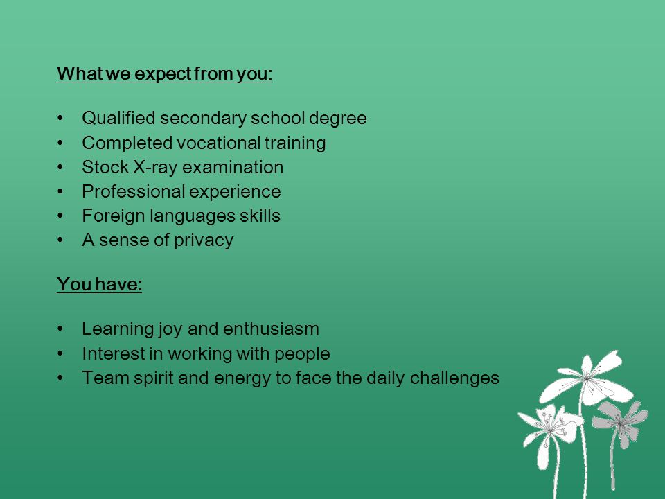What we expect from you: