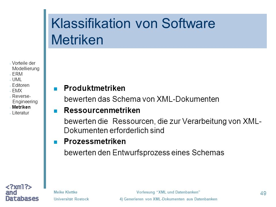 Klassifikation von Software Metriken