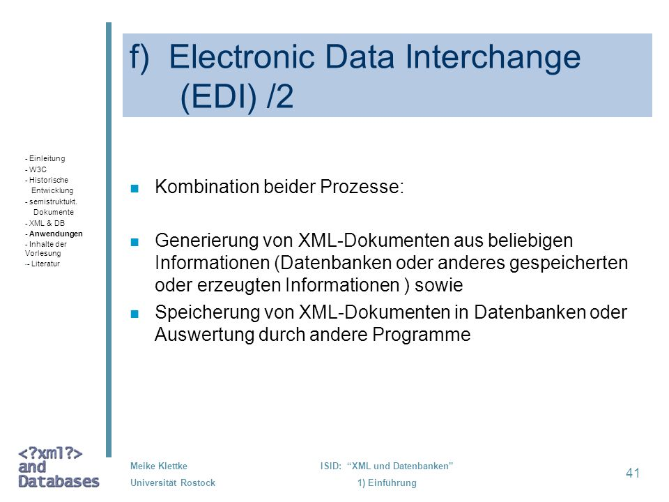f) Electronic Data Interchange (EDI) /2
