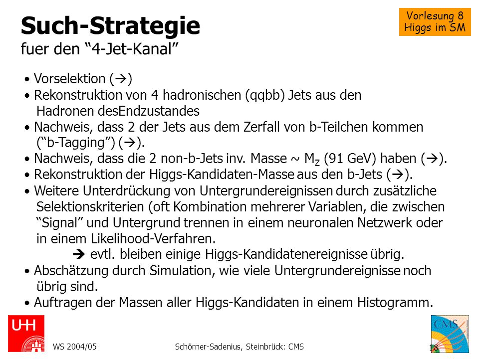 Such-Strategie fuer den 4-Jet-Kanal