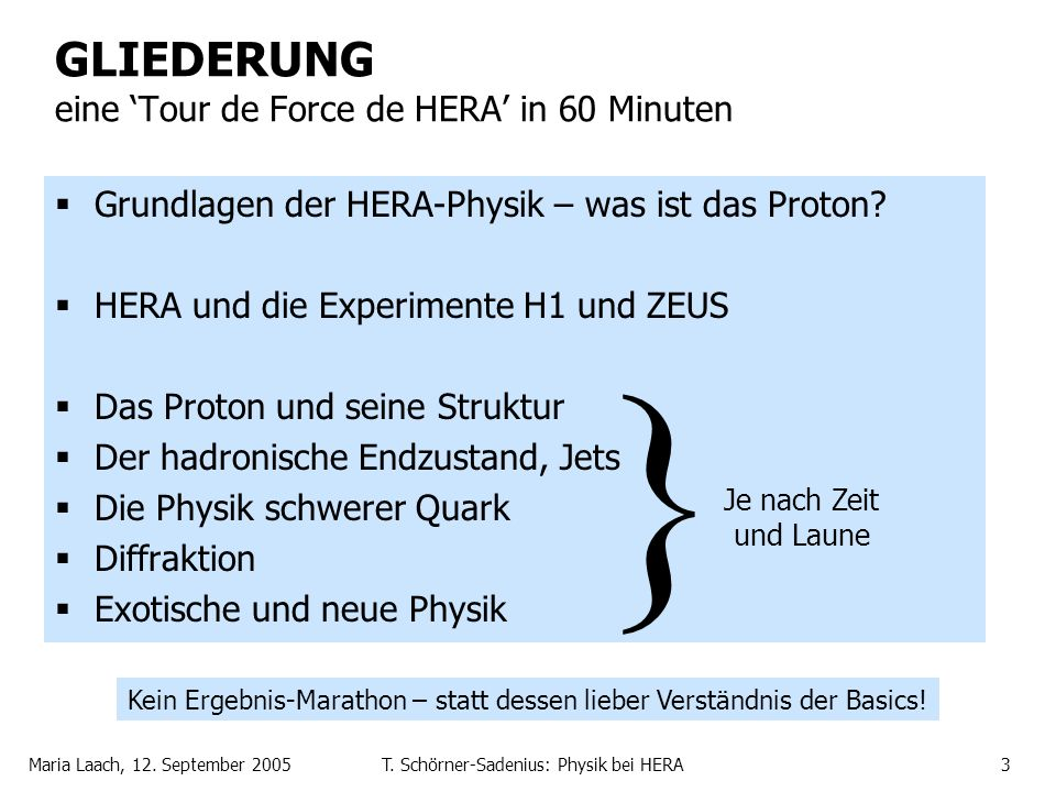 GLIEDERUNG eine 'Tour de Force de HERA' in 60 Minuten