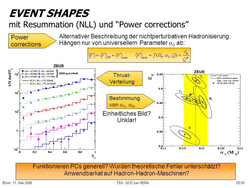 EVENT SHAPES mit Resummation (NLL) und Power corrections
