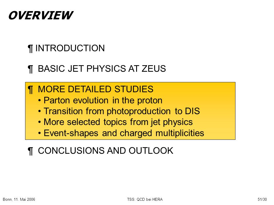 OVERVIEW ¶ INTRODUCTION ¶ BASIC JET PHYSICS AT ZEUS