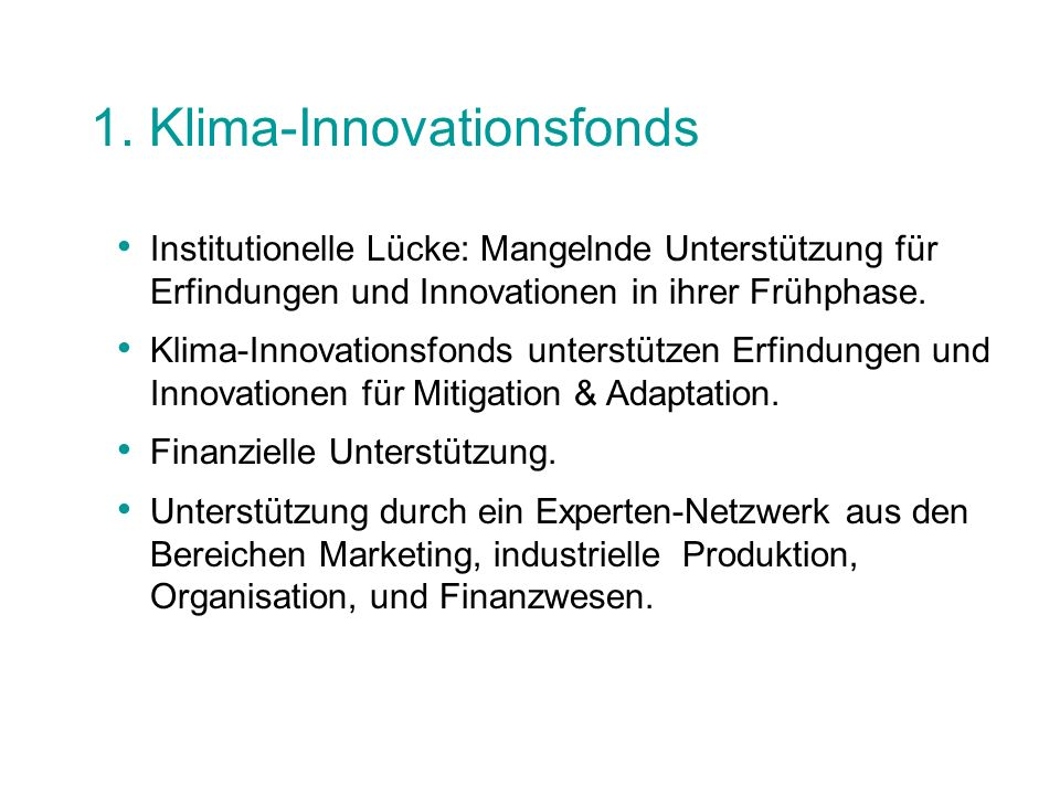 1. Klima-Innovationsfonds