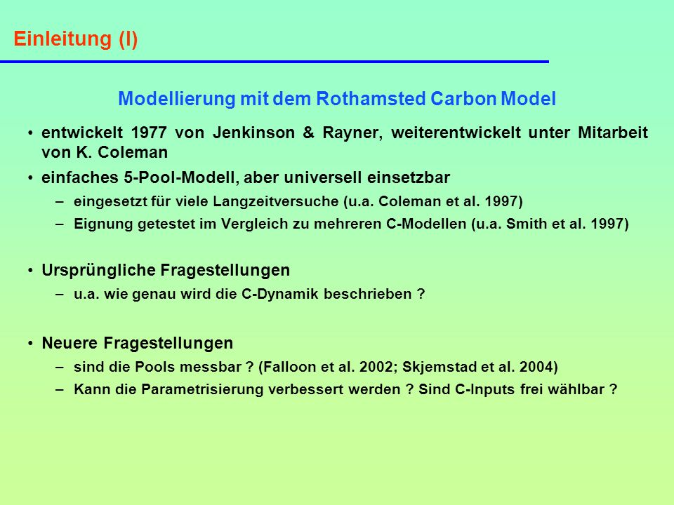 Modellierung mit dem Rothamsted Carbon Model
