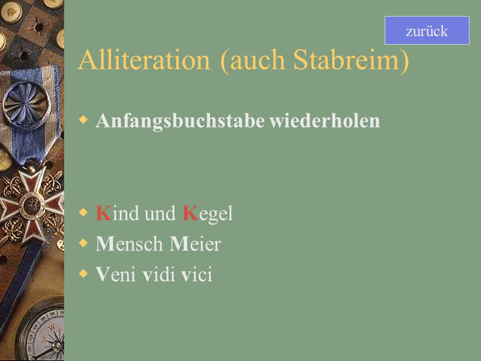 Alliteration (auch Stabreim)