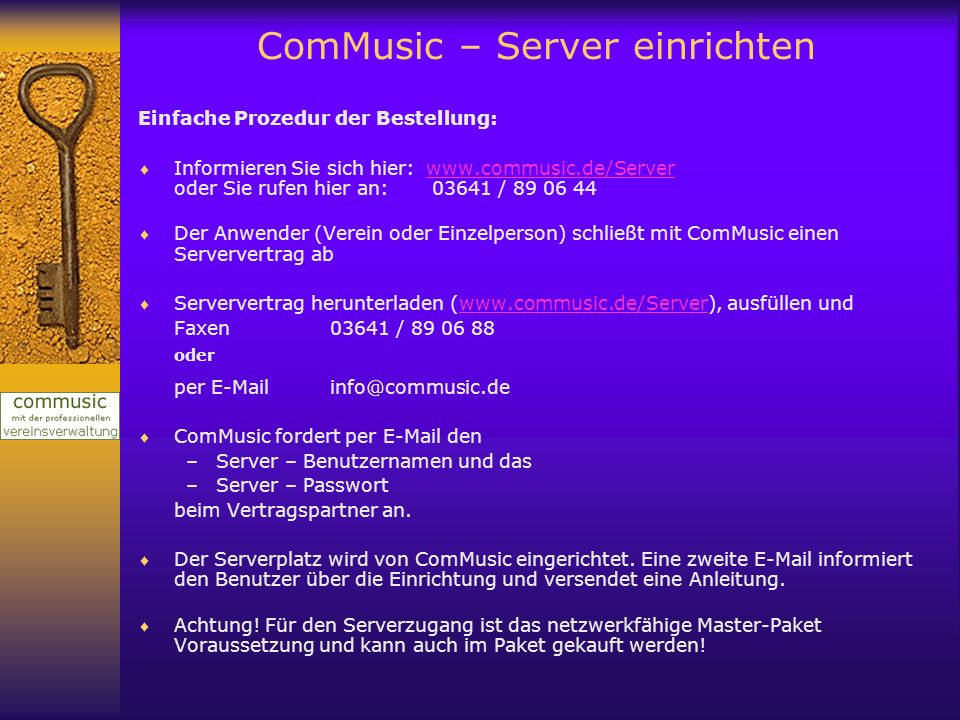 ComMusic – Server einrichten
