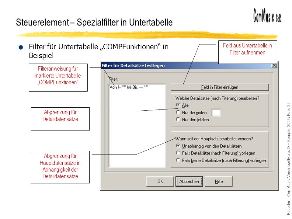 Steuerelement – Spezialfilter in Untertabelle