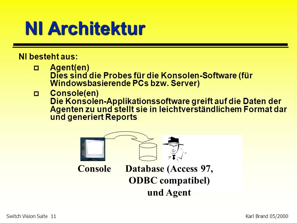 Database (Access 97, ODBC compatibel) und Agent
