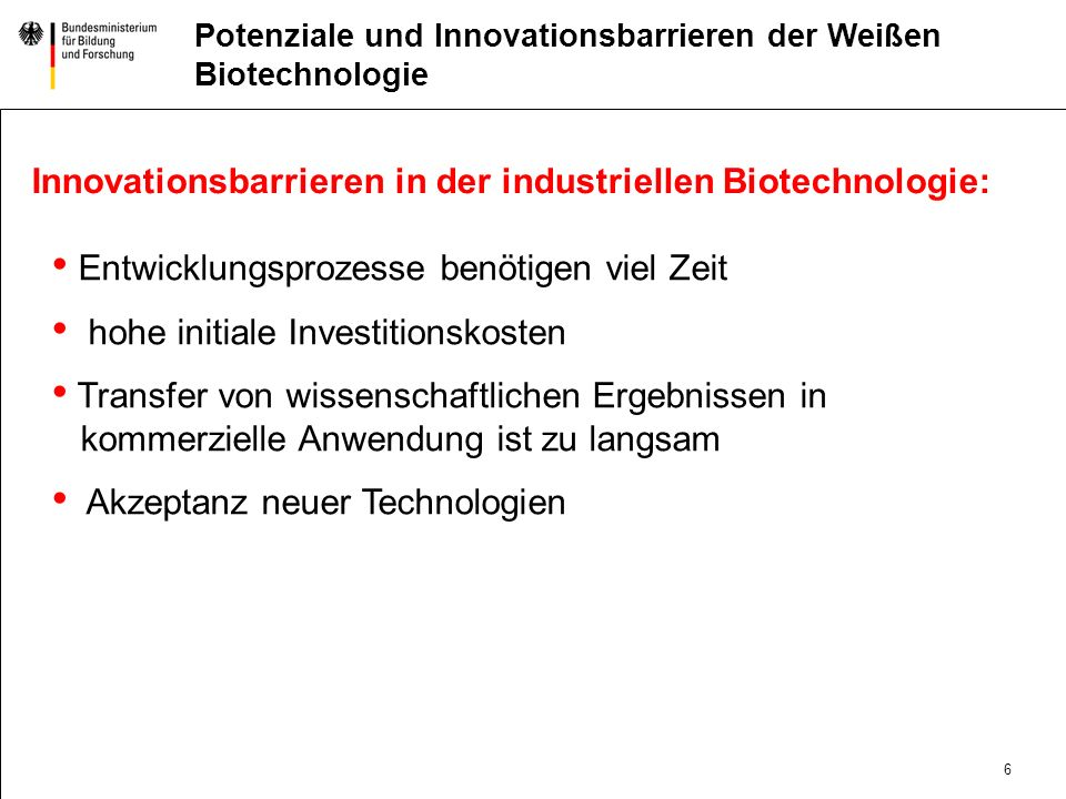 Innovationsbarrieren in der industriellen Biotechnologie: