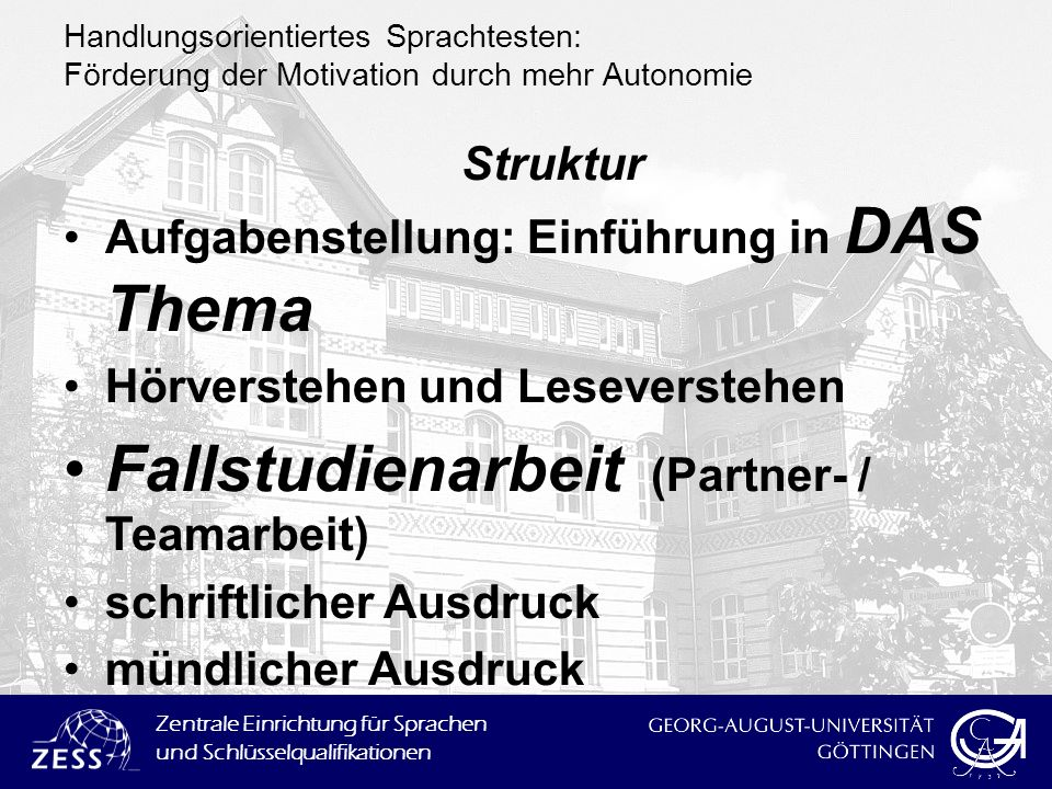 Fallstudienarbeit (Partner- / Teamarbeit)