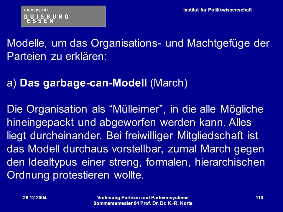 a) Das garbage-can-Modell (March)