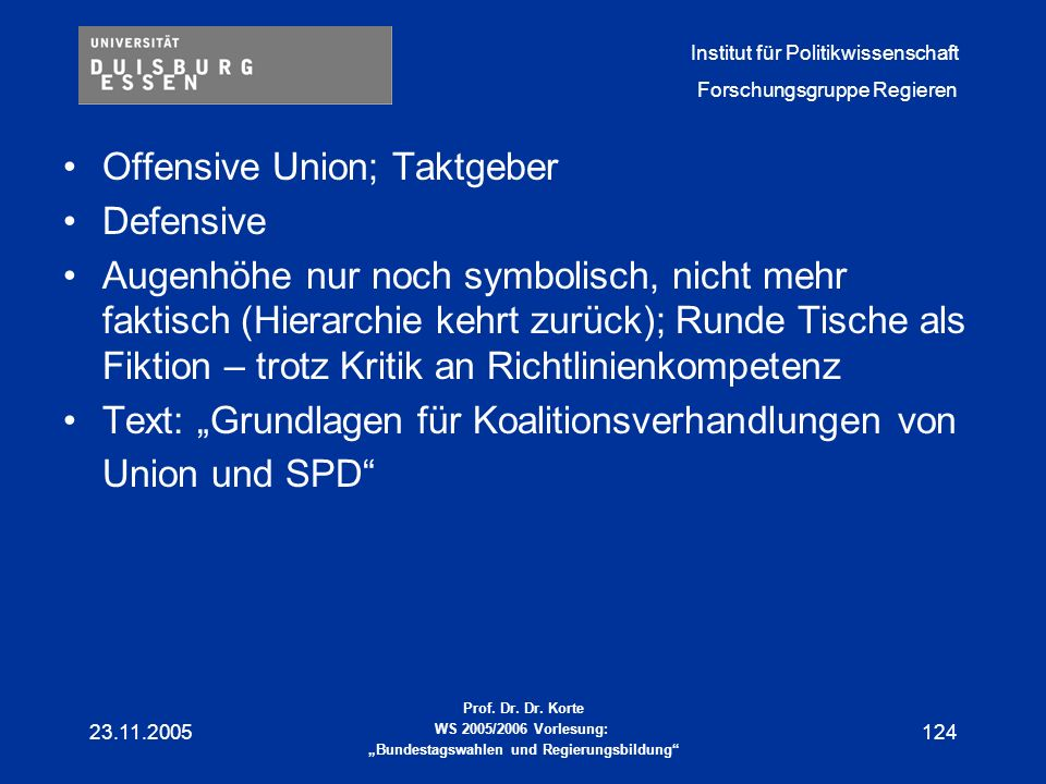 Offensive Union; Taktgeber Defensive