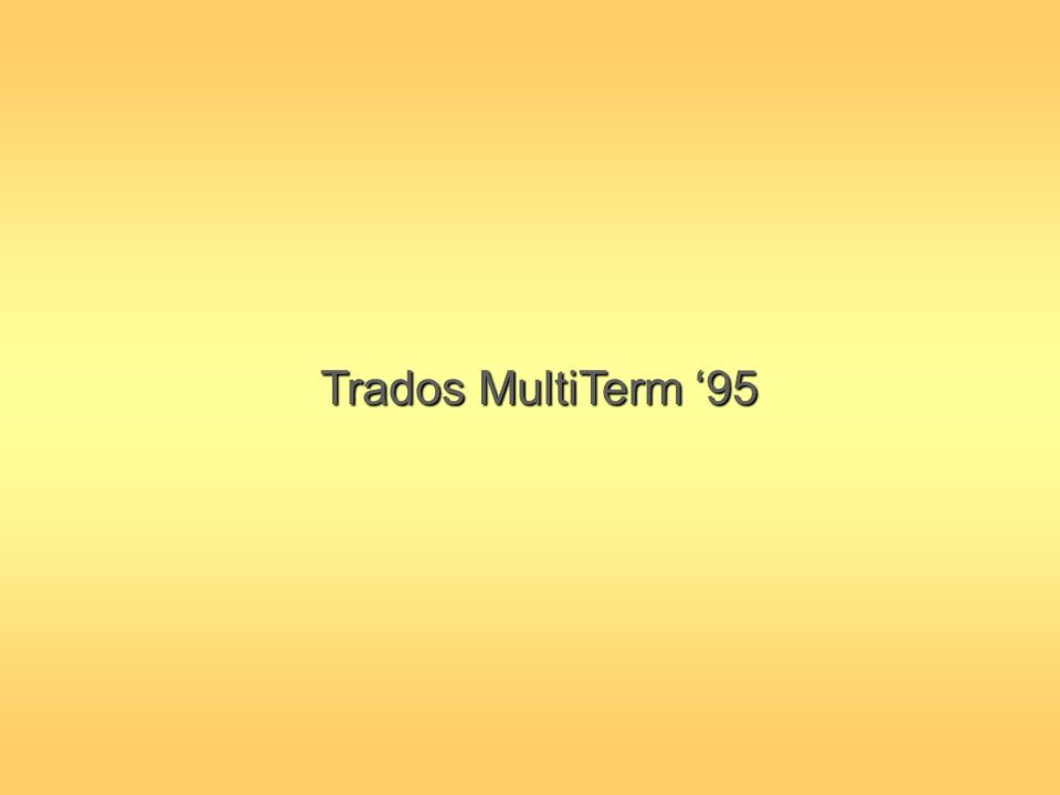 Trados MultiTerm '95