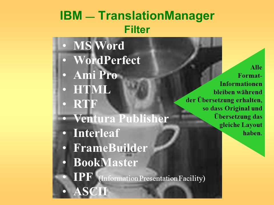 IBM — TranslationManager Filter