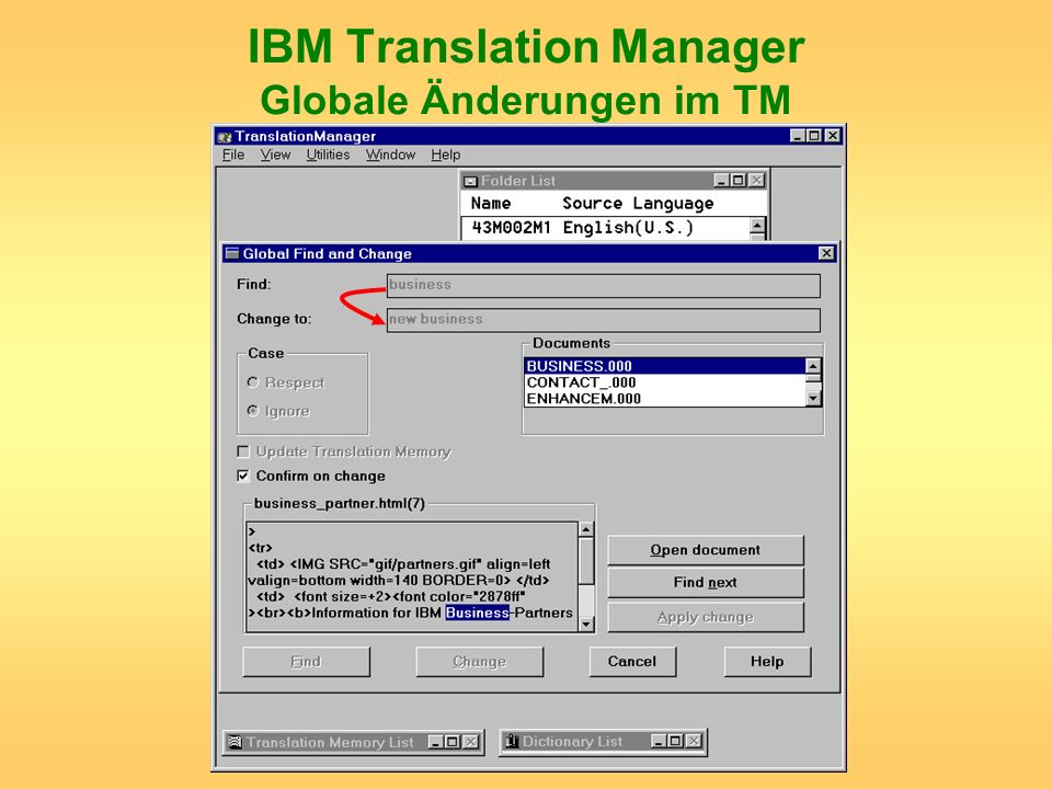 IBM Translation Manager Globale Änderungen im TM