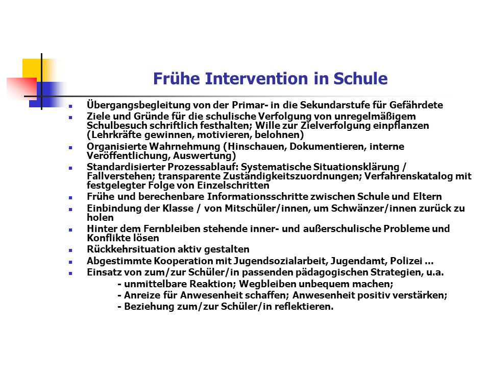Frühe Intervention in Schule