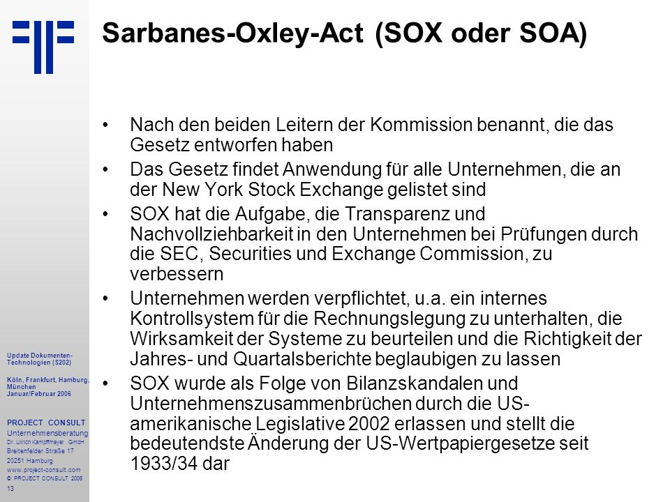 Sarbanes-Oxley-Act (SOX oder SOA)