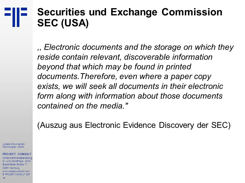 Securities und Exchange Commission SEC (USA)