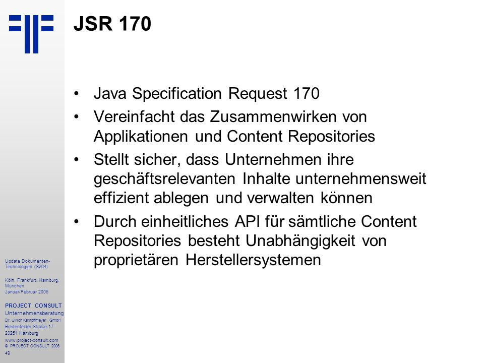 JSR 170 Java Specification Request 170