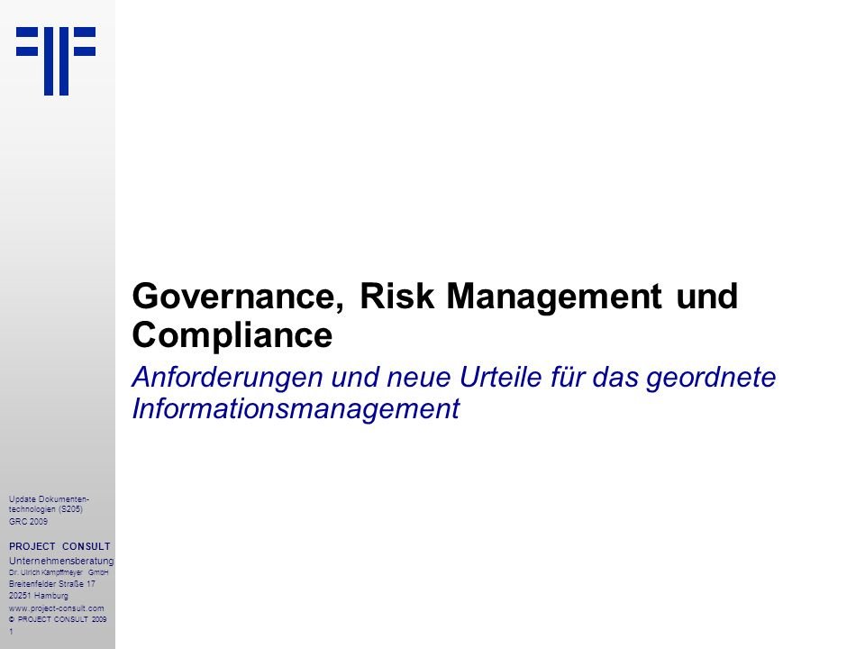 Governance, Risk Management und Compliance