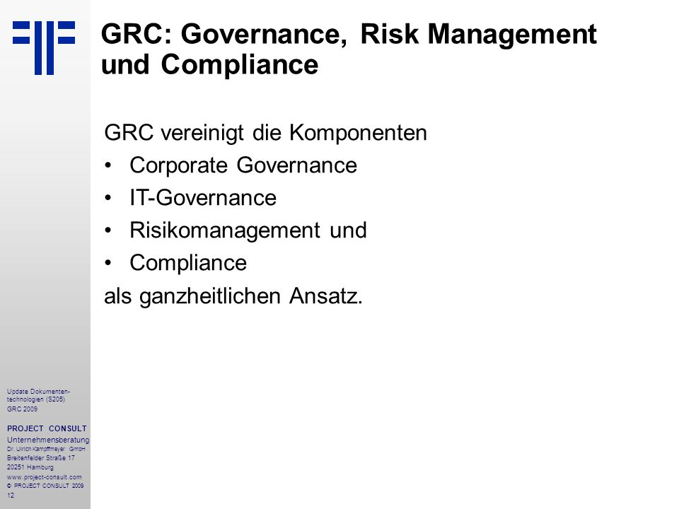 GRC: Governance, Risk Management und Compliance