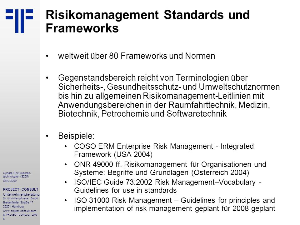 Risikomanagement Standards und Frameworks