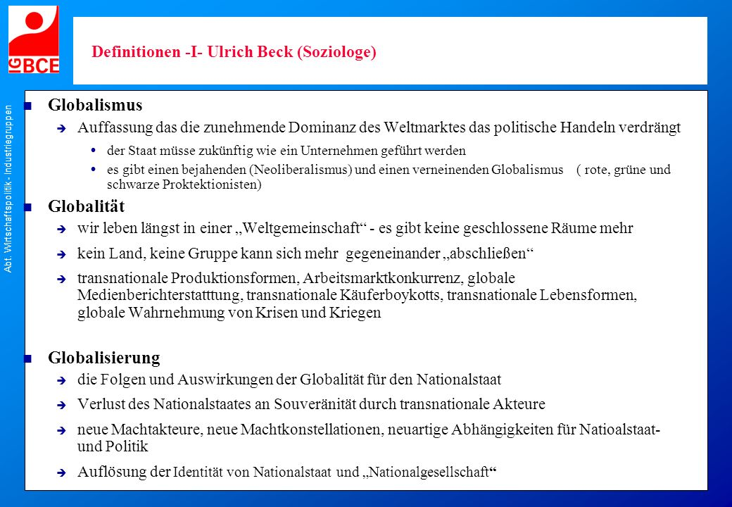 Definitionen -I- Ulrich Beck (Soziologe)